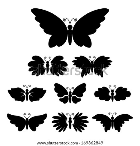 Set of nine black silhouettes of butterflies isolated on white - stock photo