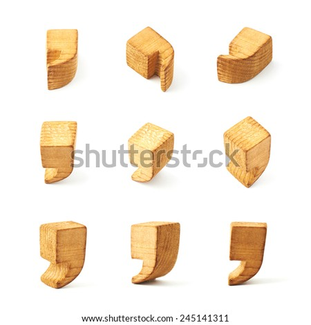 Set of nine comma symbols in different foreshortenings isolated over the white background - stock photo