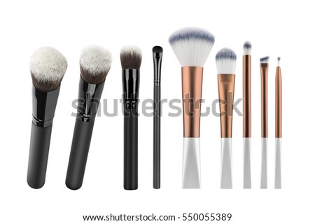 Set of nine cosmetic brushes for applying face makeup blusher and foundation, beauty products isolated on white background, clipping path included