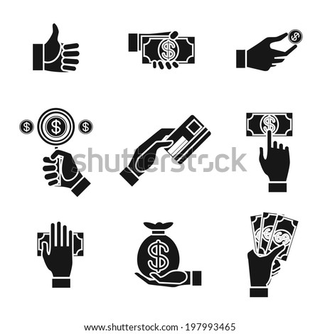 Set of nine different black and white silhouette icons of hands holding money with dollar banknotes  bills  coins  money bag and credit card  illustration conceptual of finances and payment - stock photo