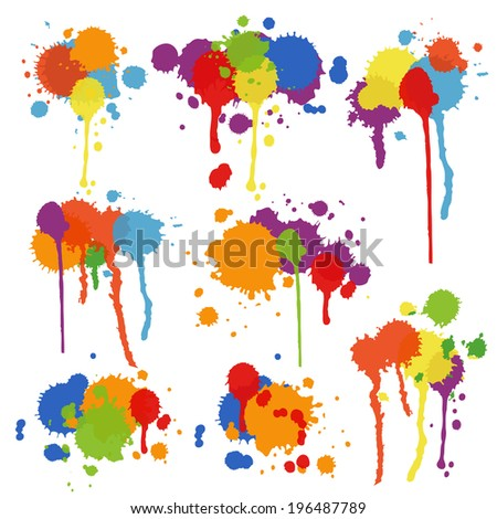 Set of nine different shapes of multicolored stains and blots in brightly colored ink  paint or pigment with drips and runs in an artistic display illustration - stock photo