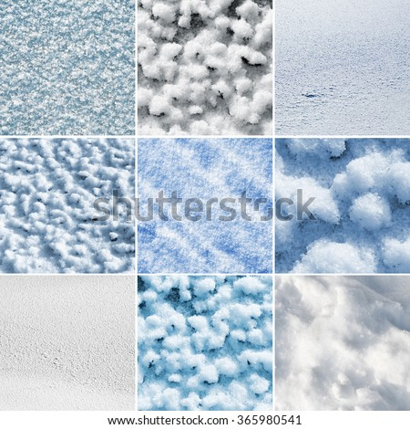 Set of nine different snow textures