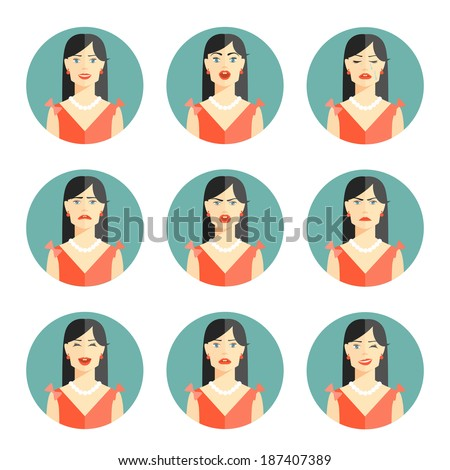Set of nine different women emotions depicting happiness  joy  sadness  worry  anger  frustration  disbelief and confusion in head and shoulder pose in circular icons illustration - stock photo