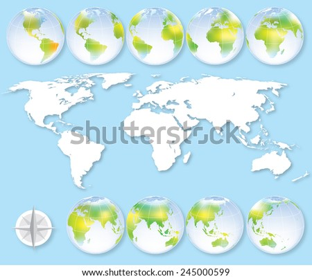 Set of nine globes with earth map showing all continents.   - stock photo