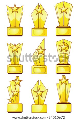 Set of nine gold trophies with stars and blank plaques