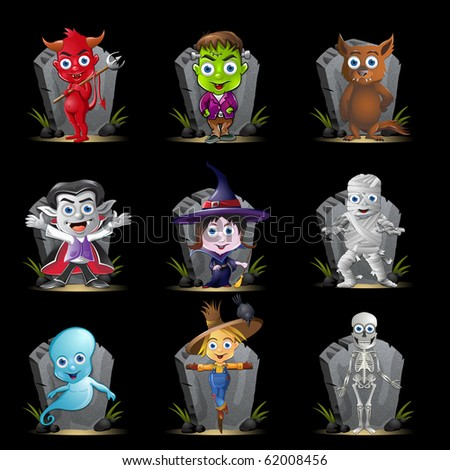 Set of nine Halloween characters in front of a tombstone. - stock photo