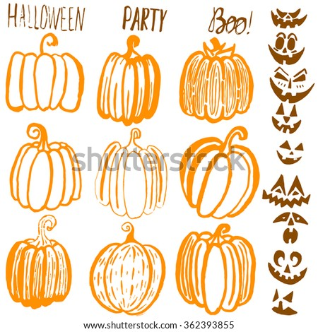 Set of nine hand drawn Halloween pumpkins. Brown, orange and yellow bright cartoon seamless texture. Can be used for invitation, fabric, paper printing, web background. Raster version - stock photo