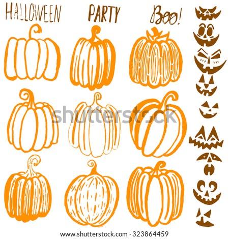 Set of nine hand drawn Halloween pumpkins. Raster version - stock photo