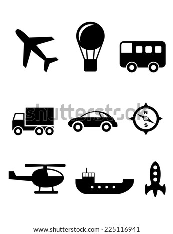 Set of nine silhouette transport icons with a plane, hot air balloon, bus, truck, car, compass, helicopter, boat and rocket - stock photo