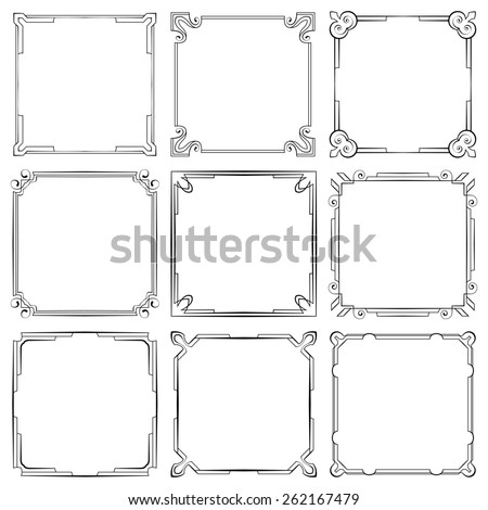 set of nine square elegant frames - stock photo