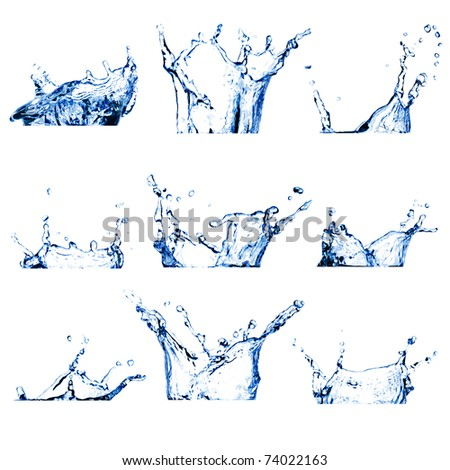 Set of nine water splashes (crowns) toned blue isolated on white - stock photo