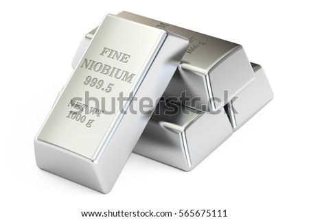 set of niobium closeup, 3D rendering isolated on white background