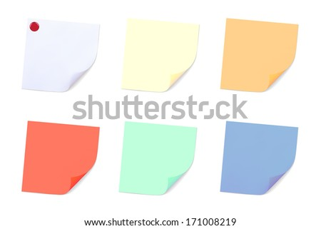 Set of Note Papers. Illustration. Isolated on white background - stock photo