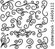 Set of notebook doodles with swirlies and heart shape in JPEG/TIFF format (Image ID for vector version: 14349544) - stock vector