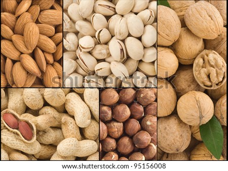 set of nuts fruit collage background - stock photo