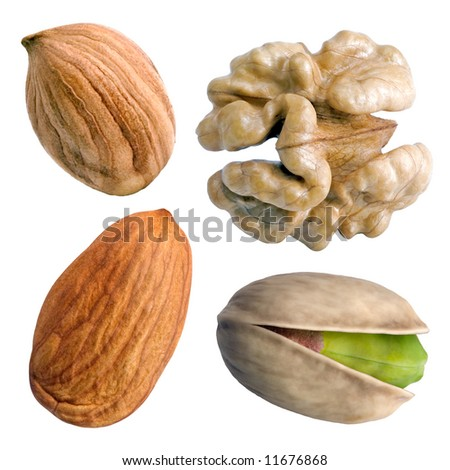 Set of nuts on the white background (isolated). - stock photo