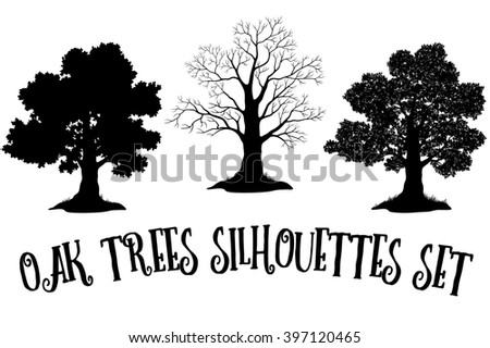 Set of Oak and Grass Silhouettes, Trees Without Leaves and Crowns Versions with Different Study of Details.  - stock photo