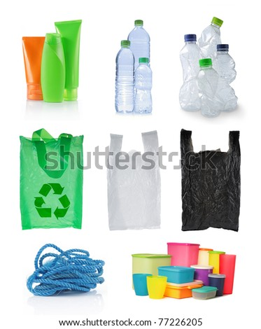 set of object made of plastic. isolated over white background