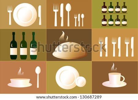 set of objects for the restaurant. dish, plate, cup, spoon, fork, knife.