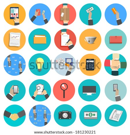 Set of office and business work elements in flat design. Raster version - stock photo