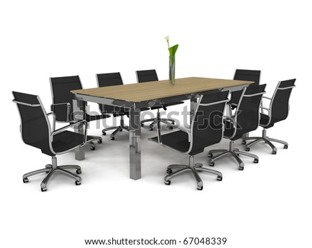 Set of office furniture on a white background - stock photo
