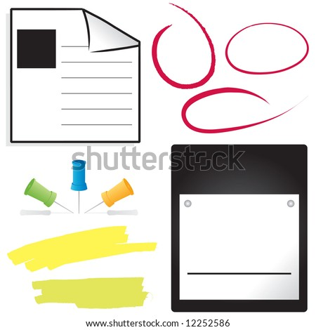 Set of office items: calendar pages with copy space, ink circles, pushpins, and highlights