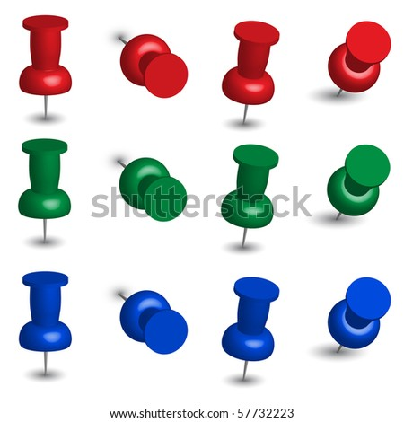 Set of Office Pins - stock photo