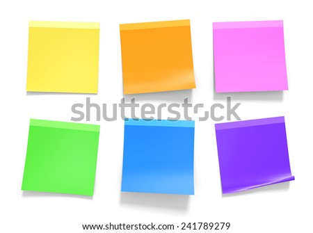 Set of office sticky notes in assorted colors of yellow, orange, pink, green, blue, and purple - stock photo