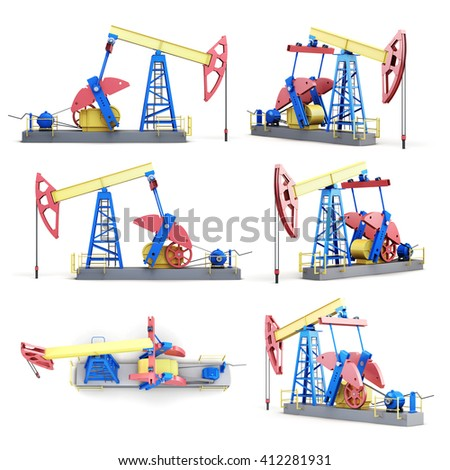 Set of oil pump isolated on white background. 3d rendering.