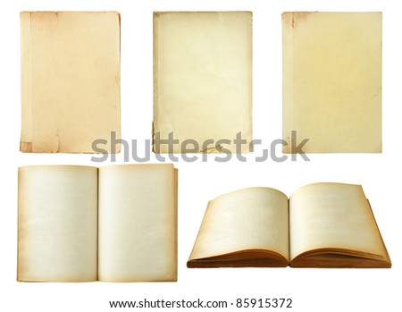 Set of old book isolated on white background - stock photo