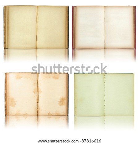 set of Old book open isolated on reflect floor and white background - stock photo
