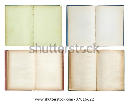 set of Old book open isolated on white background - stock photo