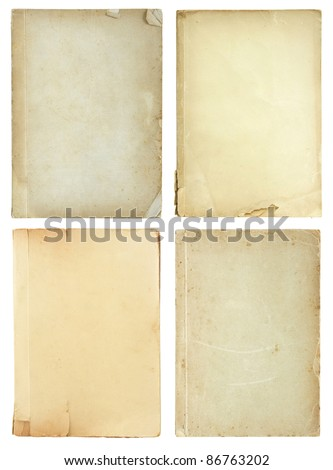 set of old book pages isolated on white background - stock photo