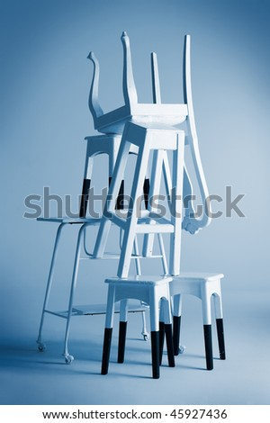 set of old chairs and tables shaped mountain and vintage effect - stock photo