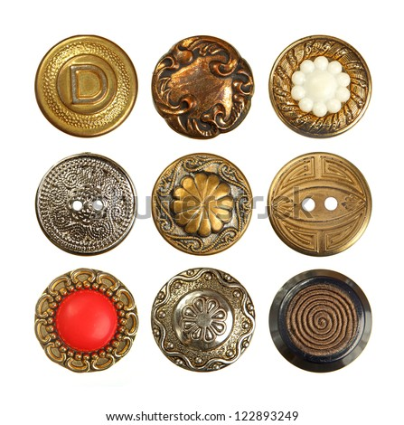 Set of old decorative sewing buttons isolated on white - stock photo