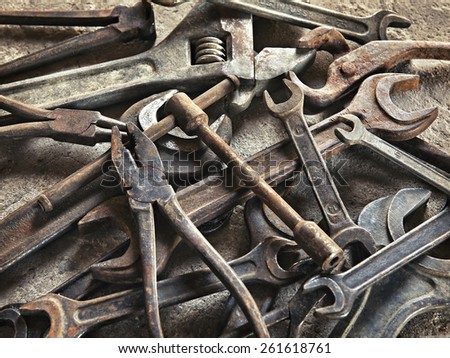 set of old dirty tools in vintage style - stock photo