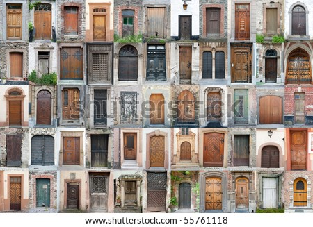 Set of 55 old doors and gates from Belgium, Luxembourg and France. - stock photo