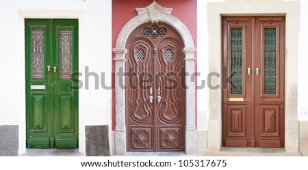 Set of 3 old doors from Portugal. - stock photo