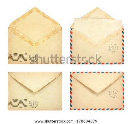 Set of Old envelopes isolated on a white background - stock photo