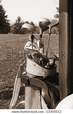 Set of old golf clubs - stock photo