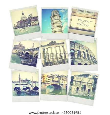 Set of old instant photos of Italy. Instagram style filtred images - stock photo