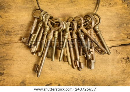 Set of old keys hanging on a ring in front of a wooden background - stock photo