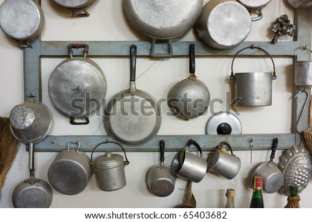 set of old kitchen tools - retro equipment of grandmother cooking - stock photo