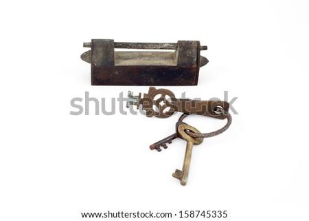 Set of old locks on white background - stock photo