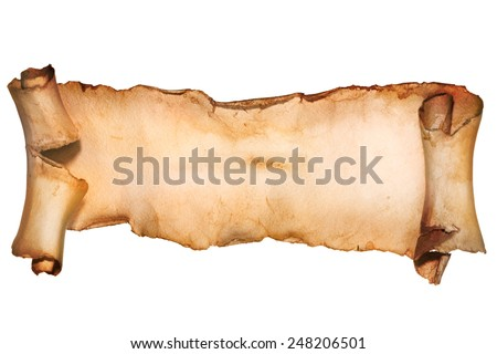 Set of old paper scroll - stock photo