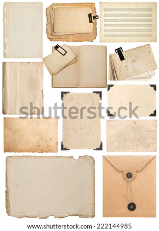 set of old paper sheet, book page, cardboard, envelope, photo frame with corner isolated on white background - stock photo