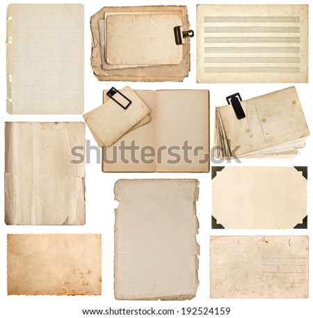 set of old paper sheet, book page, cardboard, photo frame with corner isolated on white background - stock photo