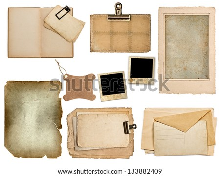 set of old paper sheets, book, pages, cards isolated on white background - stock photo