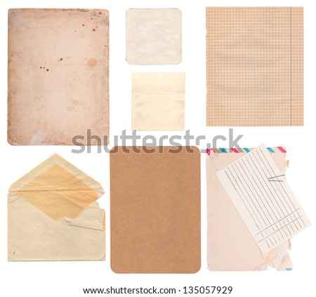 Set of old paper sheets, envelope, card isolated on white background - stock photo