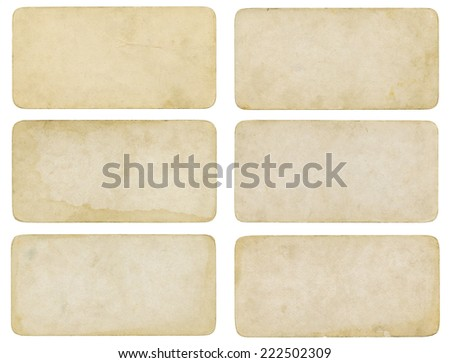 Set of old paper with stained texture - stock photo